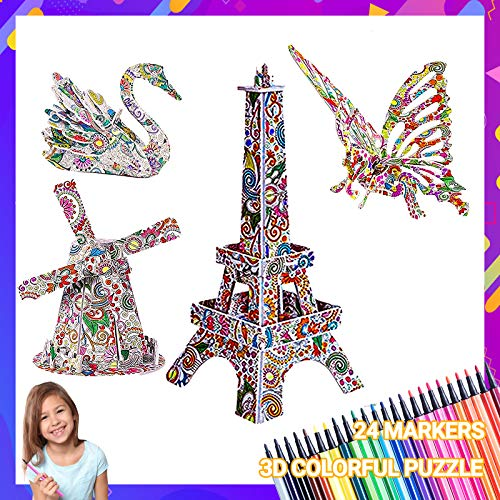 MIU COLOR 3D Coloring Puzzle Set, Fun Coloring Painting 3D Animal and Building Model Toys with 24 Pen Markers, Ideal DIY Creative Gift for Boys and Girls Age 5 and Up(4 Pack)