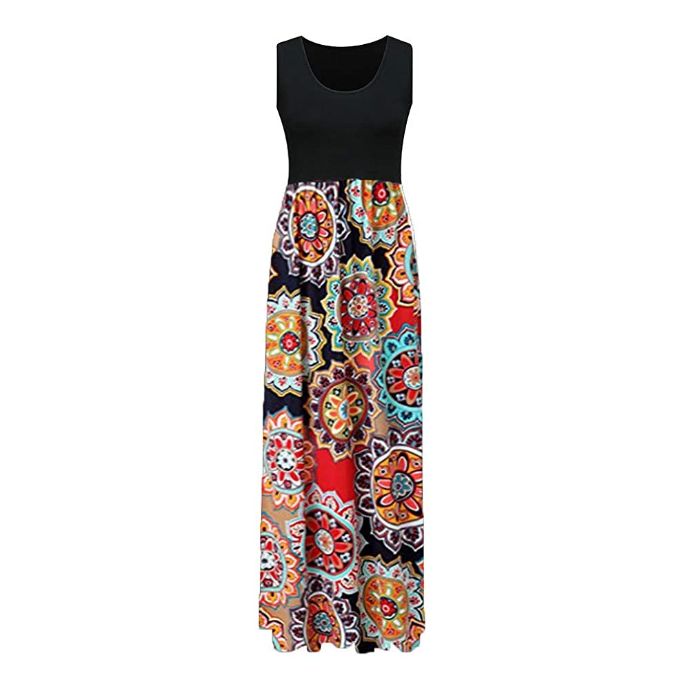 JPOQW-summer Women's Tank Long Dress Sleeveless Casual O-Neck Bohemian Print Patchwork Floor-Length Sundress