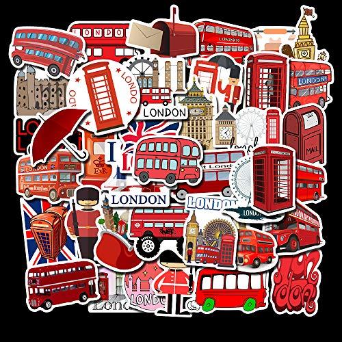 KATTERS 50 Piezas de Pegatinas de Graffiti Estilo autobús Rojo de Londres Pegatinas de Equipaje no repetitivas Pegatinas de Maleta Impermeables