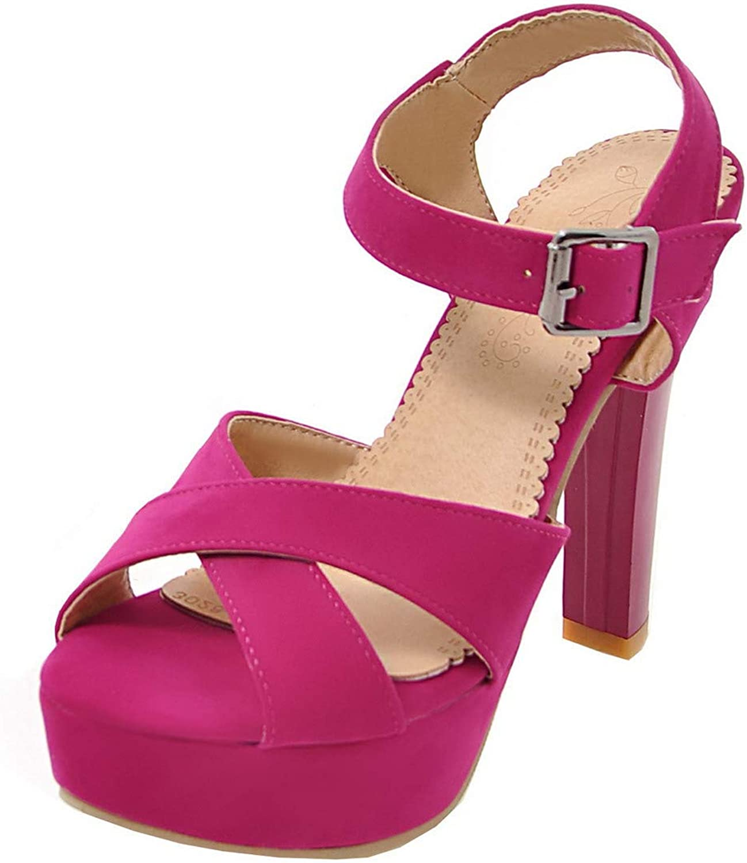 WeenFashion Women's Open Toe Buckle Blend Materials High-Heels Sandals,AMGLX007136