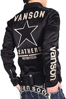 【当店別注】(バンソン) VANSON ライダース ワンスター 刺繍&ワッペン ボンディング ライダース ジャケット JFV-801-BLACK-BLACK