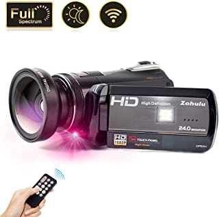 2019 Video Camera Vlogging Camera for YouTube, 1080P FHD 30FPS WiFi Full Spectrum Camcorder, Night Vision Paranormal Investigation Ghost Hunting Camera with 18X Digital Zoom (2 Batteries Included)
