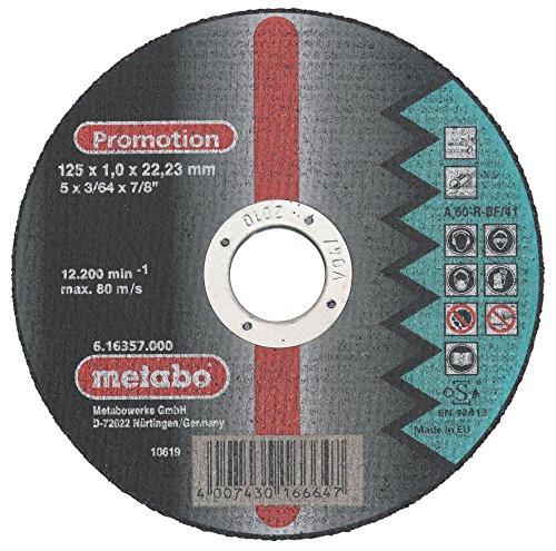 Metabo 616357000 Promotion doorslijpschijven in blikken doos, 10 stuks, 125 x 1,0 x 22,23 mm