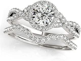 Twisted Infinity Round Diamond Engagement Ring Bridal Set Palladium (1.57ct)