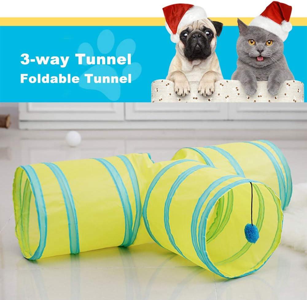 Plegable Tubo de Juego para Gatos Perrito Conejo con Pompones y Campanas para Mascota peque/ña Interactivo Laberinto Interior Athyior Juguete de T/únel para Gatos 3 V/ías