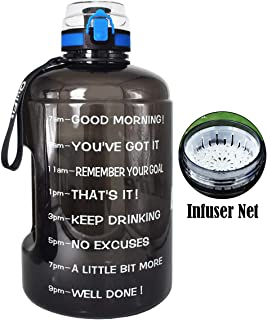 BuildLife Gallon Motivational Water Bottle Wide Mouth with Time Marker/Flip Top Leak Proof Lid/One Click Open/BPA Free/Multiple Sizes & Colors for Fitness Goals