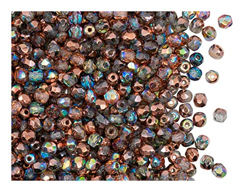 100pcs Tschechische Facettierten Glasperlen Fire-Polished Rund 3 mm Crystal Copper Rainbow