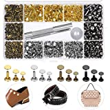EuTengHao 484Pcs Leather Rivets Double Cap Rivet Tubular Metal Studs 3 Sizes with Punch Pl...