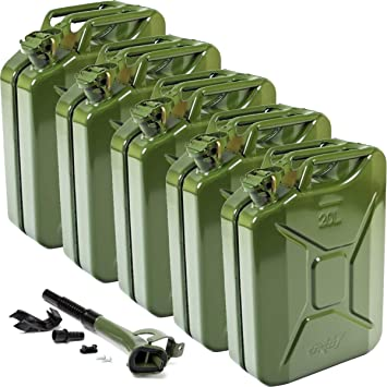 Oxid7® 5x Metal Jerry Cans 20L + Spout with Bracket - for Petrol, Diesel and Oil - Approved by UN - TÜV Rheinland Certified - Less than 25s Pouring Time - Type Inspected - Olive Green: image