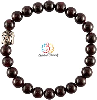 Spiritual Elementz Reiki Charged Gift Garnet Gemstone (7-8 mm) Brown Gemstone Chakra Stretch Bracelet (21-24 Beads) Unisex...