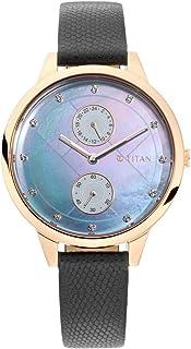 ساعة سباركل II زرقاء بمينا لؤلؤي بسوار جلدي