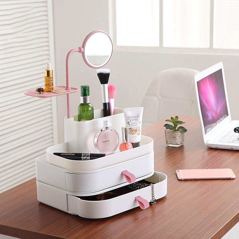 月面美しい助けになるバスルームドレッサー洗面化粧台やカウンター、2つの引き出しのためのメイクアップオーガナイザー化粧品やジュエリー収納ケースの表示広々としたデザイン、