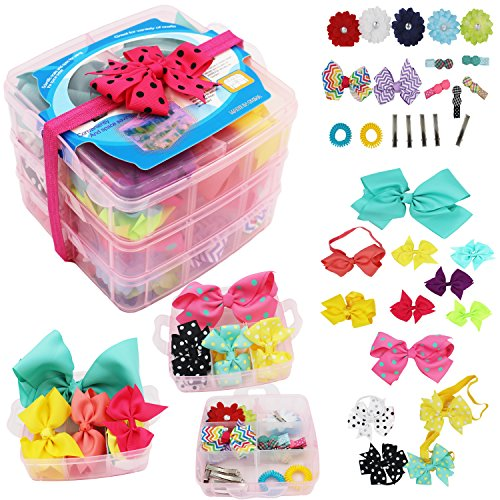 3 Layer Girls Hair Accessories Gift Box with Lot of Hair clips elastic hair tie candy clips Hair Bows alligator clips by Cellot