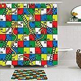Juego de cortinas y tapetes de ducha de tela,Colorido Niño Serpientes Escaleras Tablero Picadura Rompecabezas abstract,cortinas de baño repelentes al agua con 12 ganchos, alfombras antideslizantes