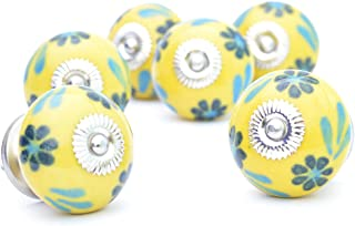 Pack of 6 Ceramic Yellow Shade Decorative Door Knobs- Pulls for Cabinet / Girls Dresser/Kids Cupboard/Kitchen Drawer Handles with Hardware Attached