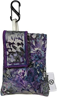 PumpCases Designer Insulin Pump Case w/Carabiner Clip (Dexcom G6, Storm Purple Flower w/Clip)