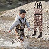 NEYGU Toddler & Children's Breathable Waterproof Waders Bootfoot Chest Waders,Kids Wader with Boots (12T, Camo)