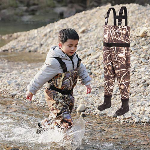 NEYGU Toddler & Children's Breathable Waterproof Waders Bootfoot Chest Waders, 7T, Camo