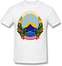 X-JUSEN Men's Coat Of Arms Of Former Yugoslav Republic Of Macedonia National Emblem Short Sleeve Cotton T-Shirts Tee Top Blouse Pullover Sport Outwear