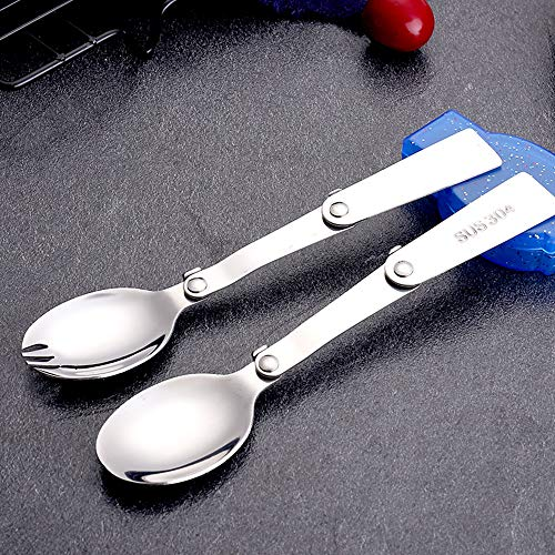 Mabor Juego de vajilla plegable plegable 304 tenedores de acero inoxidable cucharas Kit portátil para termo camping viajes actividades al aire libre
