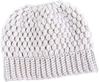 Wiwsi Women's Ponytail Beanie Skull Cap Winter Stretch Cable Knit High Bun Hat