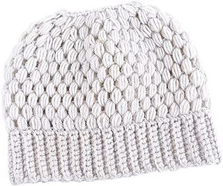 Wiwsi Women's Ponytail Beanie Skull Cap Winter Stretch Cable Knit High Bun Hat