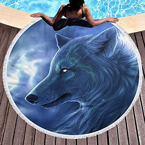 Rundes Strandtuch, Moonlight Wolf Hippie Happy Youth Handtuch Extra große sandfeste Decke Yogamatte mit Quasten