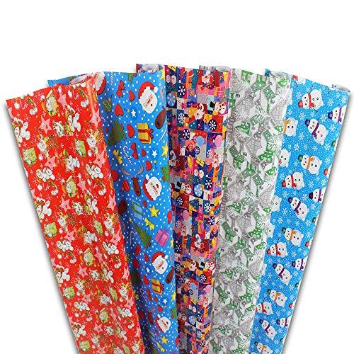 Haioo Papel de Regalo 6 Rollos de Papel para Envolver de Navidad, Cumpleaños y Fiestas 1 Set de 6 Rollos - 70 cm X 2 m por Rollo (Multicolor 3)