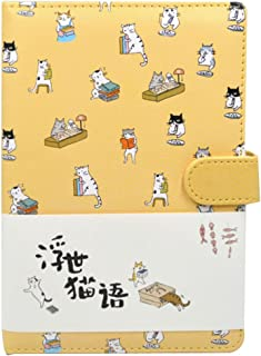 Student Cute Cartoon Cat Pattern Notebook Leather Cover Journal Diary Notepad(Yellow)