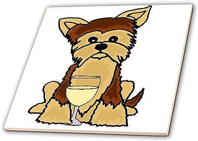 3dRose Funny Cute Pekingese Puppy Dog Eating Ice Cream Cartoon Art Tile 8 x 8