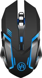 TENMOS X96 Ratón Gaming inalámbrico Recargable, Silenciosa óptico con Retroiluminación Raton Wireless Ordenador, 3 dpi Ajustables, Auto Dormir, 6 Botones para PC Notebook Portátil