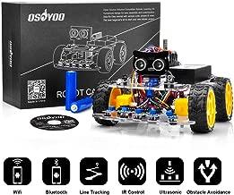 OSOYOO Smart Robot Car Kit for Arduino UNO Programmable Learning with 4TT Gear Motor, WiFi Shield, Line Tracking Sensor, ultrasonic Module, 18650 Battery