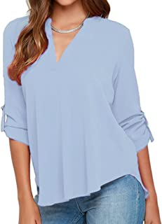 6f0f0bba4ceed roswear Women s Casual V Neck Cuffed Sleeves Solid Chiffon Blouse Top
