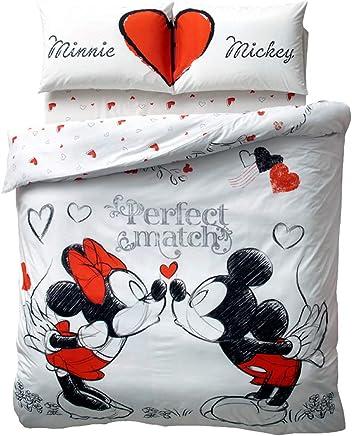 Paris Home 5pcs Minnie Loves Mickey Mouse Perfect Match Heart 100% Cotton Full Size Comforter Set w/ Linens Bedding Set