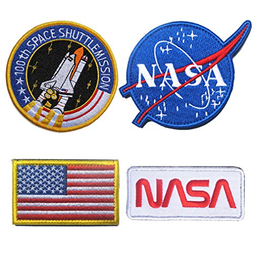 WZT 4 Pcs Tactical Flag Patch - Combination USA NASA Patch Embroidered Morale Lot Military Embroidered Patches(4 Pcs(Hook and Loop Fasteners))