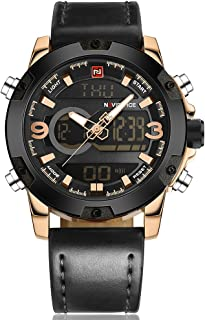 Naviforce Fan Sport Watch For Men Analog-Digital Leather - NF9097