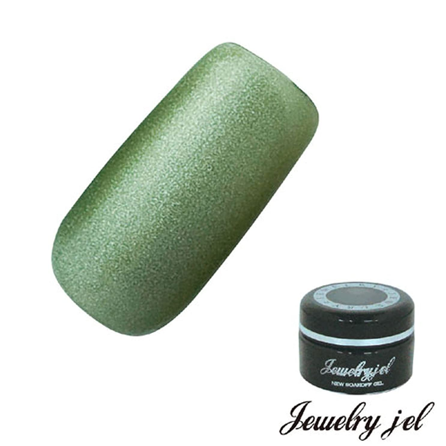 覗く組み合わせ枕ジュエリージェル ジェルネイル カラージェル SG206 3.5g 迷彩グリーン パール入り UV/LED対応  ソークオフジェル グリーン迷彩グリーン