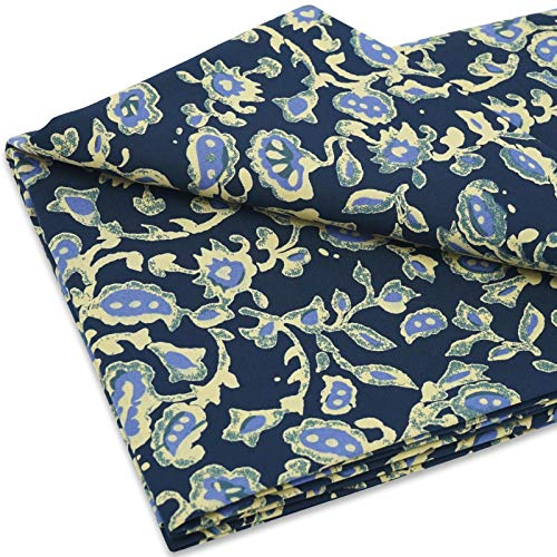 MasterFAB Cotton Fabric 100% Cotton Woven Poplin by The Yard for Sewing DIY Crafting Fashion Design Printed Floral Washable Cloth; 1 Piece Full Width cuttable 39 x 56 in' (1.1 Yard) (Navy Vines flowers)