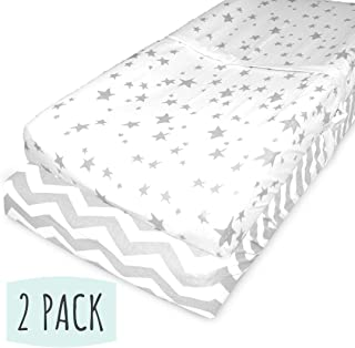 Changing Pad Cover Set   Craddle Sheets - 2 Pack - 100% Jersey Cotton Fabric. Unisex Stylish Gray Chevron and Star Prints.