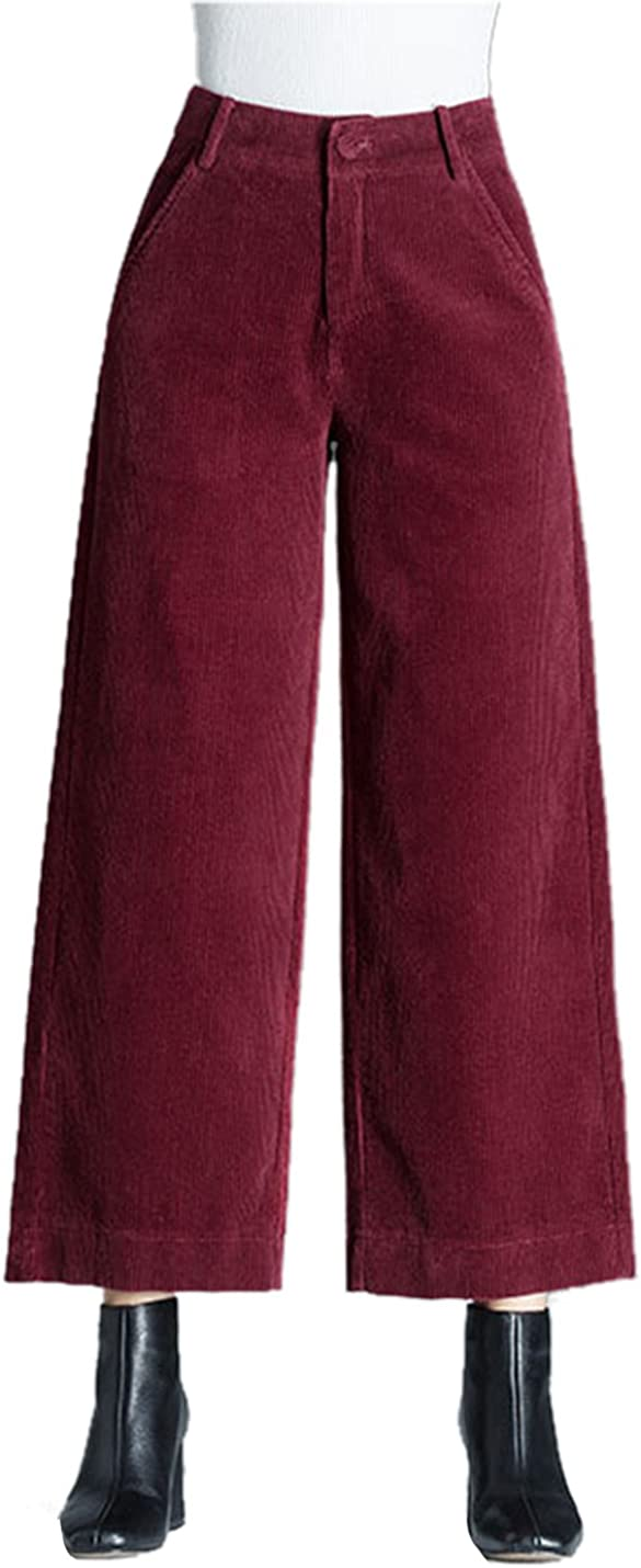Gihuo Women's Retro Wide Leg Casual Corduroy Pant with Pockets