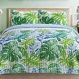 Pieridae Lightweight Microfiber Reversible Quilt Bedding Set - 3 Pc - King, Blue & Green