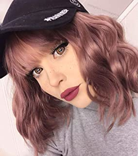 "Short Grey Pink with Bangs for Women Shoulder Length 12"" Pink Bob Wavy Wigs Synthetic Cosplay Daily Wig"