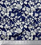 Soimoi 42 Pouces de Large Viscose en Mousseline de Soie Tissu imprimé Floral 55 Matériau GSM au mètre-Bleu Marine