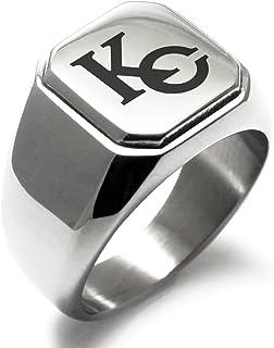 Stainless Steel Athena Greek Goddess of Wisdom Hexagon Crest Flat Top Biker Style Polished Ring