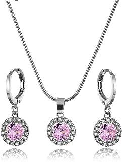 7d52bec8da64 Conjunto de joyas cristales de zirconia colgante collar y pendientes para  niñas regalos y uso diario