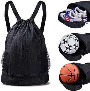 SKL Drawstring Bag Backpack with Ball Shoe Compartment Sport Gym Sackpack String Bag for Men Women Soccer Basketball