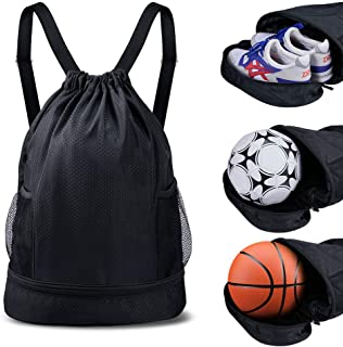 SKL Drawstring Bag Backpack with Ball Shoe Compartment Sport Gym Sackpack String Bag for Men Women Soccer Basketball