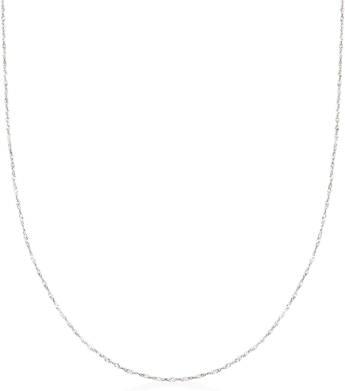 Ross-Simons Italian .8mm 14kt White Gold Adjustable Slider Singapore Chain