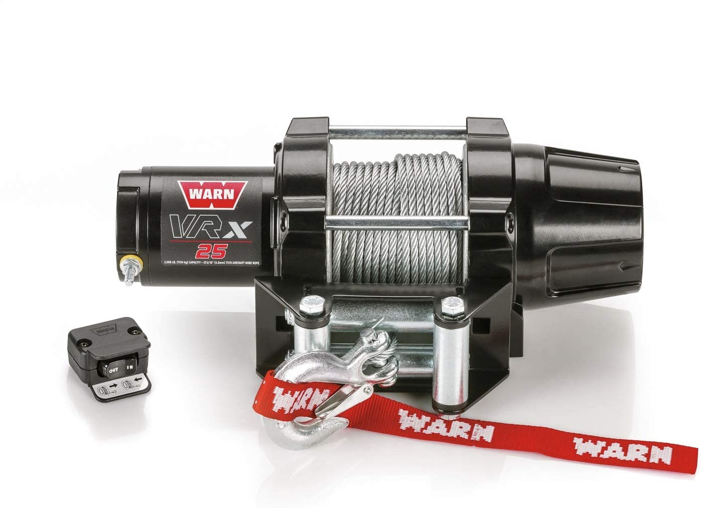 WARN 101025 VRX 25 Powersports Winch with Handlebar Mounted Switch and Steel Cable Wire Rope: 3/16