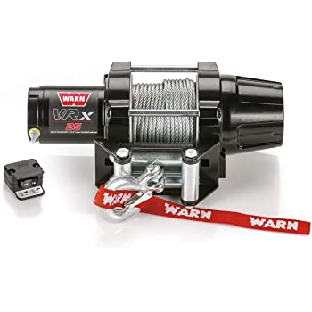"""WARN 101025 VRX 25 Powersports Winch with Handlebar Mounted Switch and Steel Cable Wire Rope: 3/16"""" Diameter x 50' Length, 1.25 Ton (2,500 lb) Capacity"""